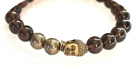 Pyrite Smoky quartz mala beads stretch Bracelet Wrist Bracelet 8 mm Reiki Healing stones - Energized buddhist Tibetan prayer beads Yoga Jewelry   US Seller