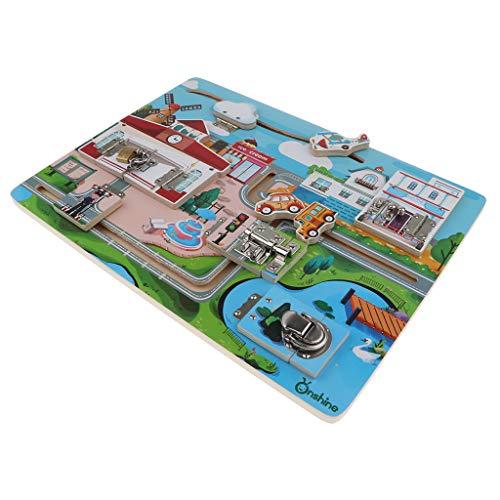 Sharplace Juguete Montessori de Madera Tablero de Bloqueo de Cerradura Juego Paar Desarrollo de Cerebro de Niños - Patrón de Carretera Urbana