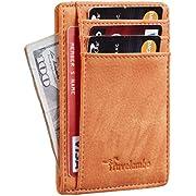 Travelambo Front Pocket Minimalist Leather Slim Wallet RFID Blocking Medium Size (Oldo Orange Yum)
