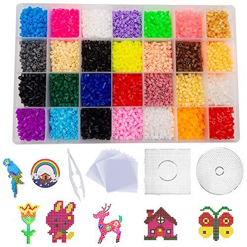 shafier 11120 PCS Perler Beads 28 Colores Fuse Beads para Niños y Adulto DIY Patrón Arte de Pared pixelado en 2D Juguetes Educativos Cuentas de Artesanía