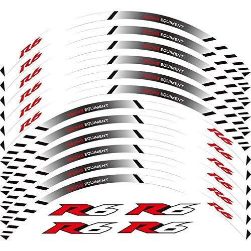 Motos Etiqueta de la Rueda de la Motocicleta 12 Tiras Reflective Motocicleta Calcomanías Ruedas Rim Motorbike Moto Pegatinas Decoración Estilo para YZF R6 R6 Accesorios (Color : 19)