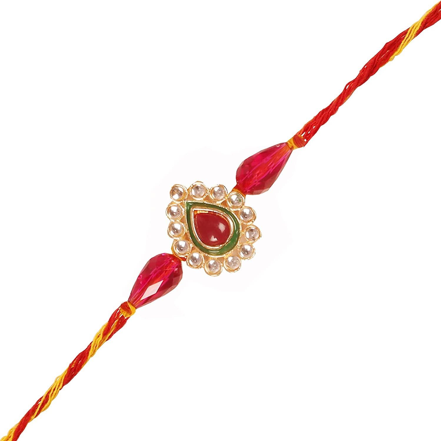 Touchstone Handcrafted Royal Mughal Kundan Look Floral Emerald Strengthening Indian Brother Sister Relations Symbolic Wrist Enhancing Designer Rakhi for Brothers.