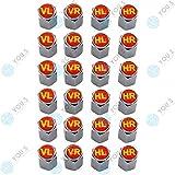 YOU.S Alluminio Coperture Valvole con Guarnizione con Marcatura Pneumatico Rosso Giallo Valvola Taglio Copertura per Auto Veicoli Camion (6 Serie)