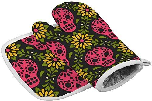 Maniques, gants de four de cuisine bol résistant à la chaleur, modèle vectoriel avec des crânes de sucre mexicains et des gants isolés pour la cuisson, la cuisson, la cuisson au four à micro-ondes