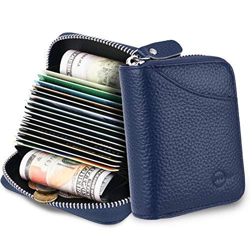 MUCO Tarjeteros para Tarjetas de Credito, RFID Wallet Pasaporte, Piel Auténtica, Titular de la Monederos con Cremallera (Azul)
