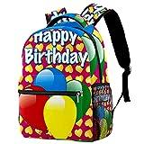 XiangHeFu Mochila pequeña para niñas niño al aire libre a pie bolsa de viaje mochila escolar Fondo de corazones dulces de globo de fiesta Mochila estampada