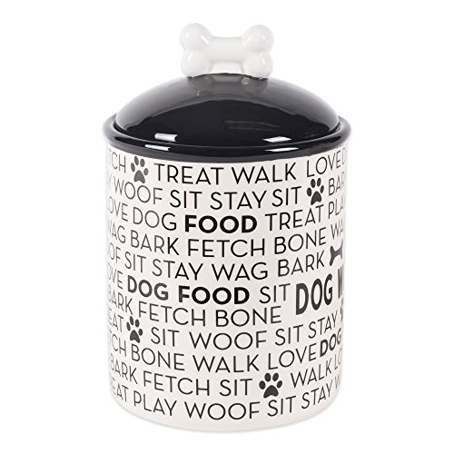 Bone Dry DII Medium Ceramic Pet Treat Storage Canister with Lid 5.5' (Dia) x8.25 (H), Perfect Food and Treat Jar for Dogs and Cats - Black Dog Text