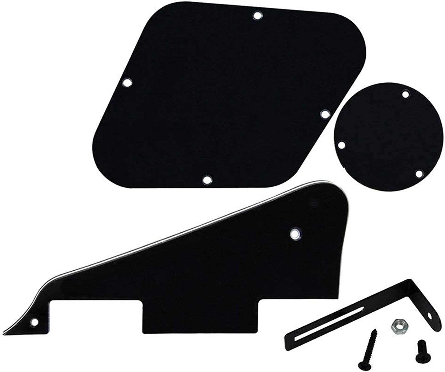 FLEOR 3Ply Black LP Style Electric Guitar Pickguard Scratch Plate & Control Cavity Cover & Switch Cavity Cover & Black Bracket for LP Style Guitar Replacement