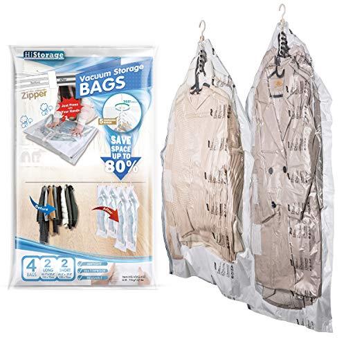 Hi Storage hängende Vakuum Aufbewahrungsbeutel 2 Jumbo 135 x 70 cm & 2 Groß105 x 70 cm mit Abluftdurchlass, Keine Pumpen oder Staubsauger erforderlich, Ideal für Kleidung, Anzüge, Kleider, Jacken