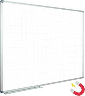 JILoffice Magnetic Dry Erase Planning Board, Grid Pattern White Board 48 x 36 Inch, Silver Aluminum Frame with Detachable Marker Tray for Office School and Home
