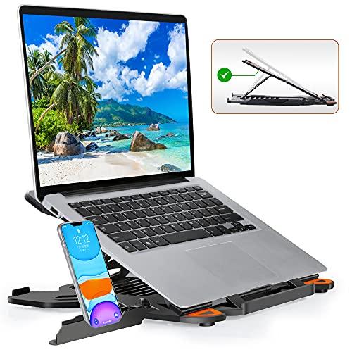 TopMate Supporto per Laptop per Scrivania Regolabile in Altezza, Supporti per PC Portatili Computer Girevole, Appoggia PC Portatile con Supporto Telefono, Supporto Notebook per MacBook Air PRO 10-17'