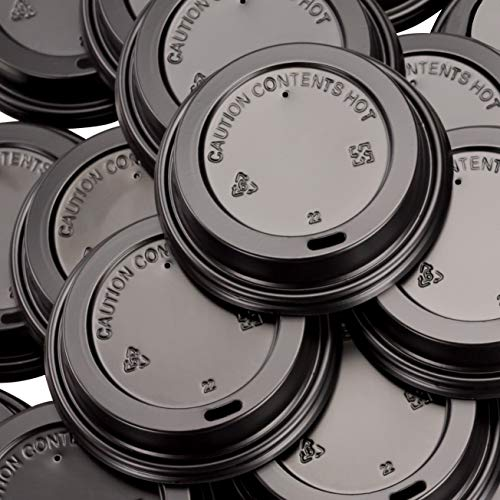 Premium, Recyclable Black Dome Lids, 100 Pack. One Size Fits All Travel Lid For 10, 12, 16 and 20 Oz To Go Drink Cups Are Anti-Spill for Cafes and Takeout Coffee Shops. Includes Hot Contents Warning.