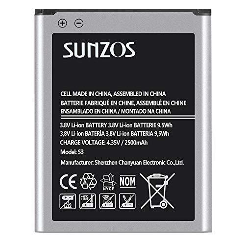 SUNZOS 2500mAh Akku für Samsung Galaxy S3, S3 Neo (2020 Upgraded) Ersatz Original EB-L1G6LLU Batterie Accu - 12 Monate Garantie