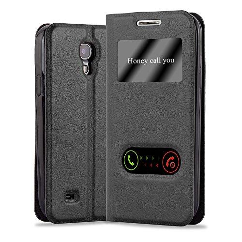 Cadorabo Hülle für Samsung Galaxy S4 in KOMETEN SCHWARZ – Handyhülle mit Magnetverschluss, Standfunktion und 2 Sichtfenstern – Case Cover Schutzhülle Etui Tasche Book Klapp Style