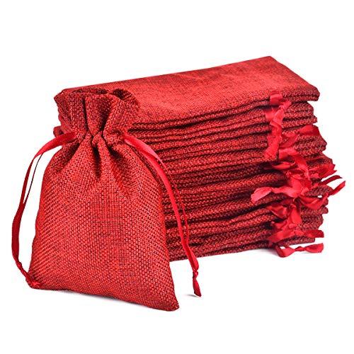 Tyhbelle 20 Stücke Jutesäckchen Jute Beutel 10 x 15 cm Säcke für Adventskalender Schmuck Gastgeschenke und DIY Handwerk, Jutebeutel, Stoffbeutel zum Befüllen - Weihnachten(Weinrot)