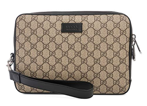 Gucci Natural Beige Ebony Black Gg Supreme Canvas Crossbody Mens bag New