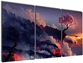 Gardenia Art Magic Cherry Tree in Volcanoes Canvas Prints No Frame Modern Wall Art Paintings Artwork for Room Decoration,16X24 inch, Unframed