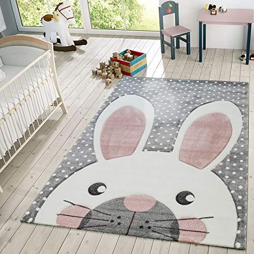 TT Home Alfombra Infantil De Juego Moderna Conejo Tonos Pastel En Beige Gris Rosa, Größe:120x170 cm