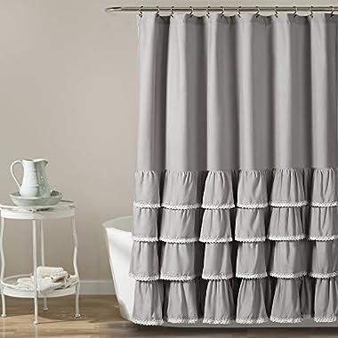 Lush Decor Ella Lace Ruffle Shower Curtain, 72  x 72 , Gray
