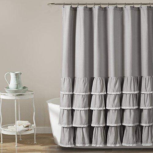 "Lush Decor Ella Lace Ruffle Shower Curtain, 72"" x 72"", Gray"