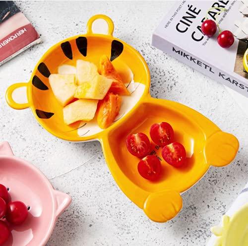 N\C Lindo vajilla en forma de dibujos animados para niños vajilla de cerámica bebé comer tazón plato de cena [estilo RAndom]