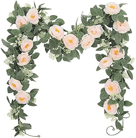 U'Artlines 2PCS(13FT) Fake Rose Vine Garland Artificial Flowers Plants for Hotel Wedding Home Party Garden Craft Art Decor(Champagne)