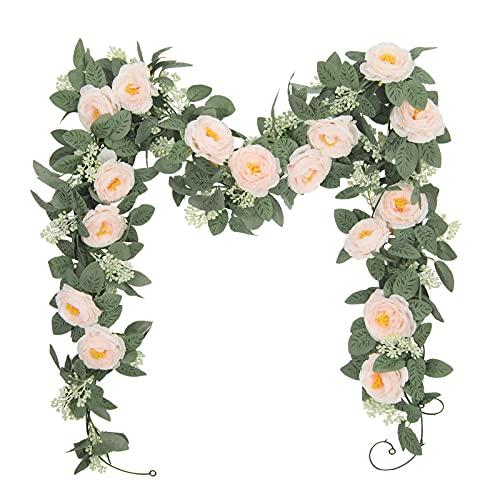 U'Artlines Juego de 2 (4,0m en Total) Guirnalda de Rosas Artificiales Flores...