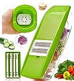CHENJIA Multifunción 5 en 1 cortador de vegetales con 5 herramientas reemplazables rebanadoras de patata premium, cortador de freír francés, rebanador de cebolla, rebanador vegetal ligero y fácil de l