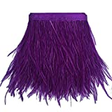 KOLIGHT Pack de 1.8m plumas de avestruz natural teñido (9 ~ 12 cm) Recorte de la franja de bricolaje de coser del vestido Crafts Púrpura