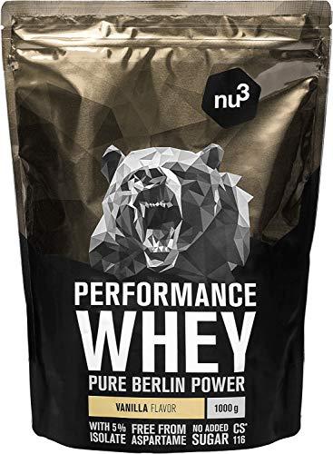 nu3 Performance Whey Protein - 1kg de suero en polvo sabor vainilla con 74.9% de proteína - Con aminoácidos BCAAs + proteína isolada (isolate) - Batido proteico para ganar masa - Altamente soluble