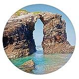 Mantel ajustable de poliéster con bordes elásticos, diseño de arcos de piedra rocosa, en la costa española del mar, para decoración de mesa de cocina y comedor