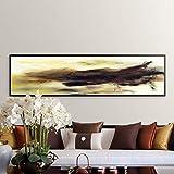 QWESFX Carteles e Impresiones Arte de la Pared Pintura de la Lona Pintura al óleo Abstracta Moderna Cuadro Amarillo y Negro para la decoración de la Sala de Estar B 40x80cm
