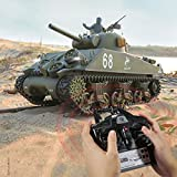 LuoKe American M4A3 Sherman Tank Model 1:16 2.4G RC High Simulation Military Tank Model with Sound Smoke Shooting Effect for Kids Adult
