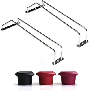 2PCS 14 Chrome Plated Glass Hanger Bar Wine Rack Attched To Ceiling Cabinets or Shelving Get 1 Free Sponge Brush Bottle Cu...