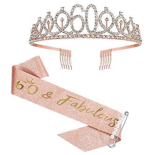 60. Geburtstagsschärpe und Tiara, Rose Gold Geburtstagsschärpe Krone 60 & Fabulous Schärpe und Tiara für Frauen, 60. Geburtstagsgeschenke für alles Gute zum 60. Geburtstagsgeschenk