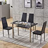 BELIFEGLORY Dining Table with Chairs, Glass Dining Kitchen Table Set Modern Tempered Glass Top Table and PU Leather Chairs with Chairs Dining Room Furniture (2 Tiers & Chrome Legs Table+Black Chairs)