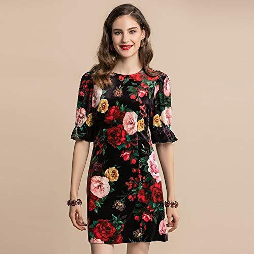 Zomer Herfst Jurk Dames Halve Mouw Elegant Vintage Rose Bloemenprint A Line Mini Short Dress