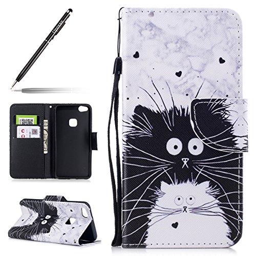 Uposao Kompatibel mit Huawei P10 Lite Leder Tasche Schutzhülle Handytasche Brieftasche Ledertasche Lederhülle Bunt Muster Klapphülle Book Hülle Schutzhülle Flip Cover,Lustig Katze