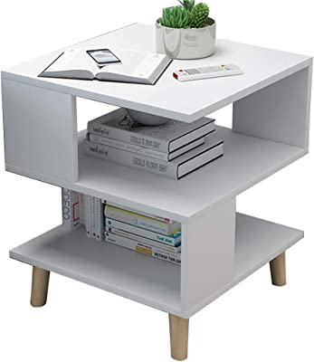 Coffee Tables Snack Side End Table,Sofa Table, Living Room Small Coffee Table, Simple Side Table and Small Table, Storage Coffee Table Shelf (Color : White, Size : 40 * 40 * 55.5CM)