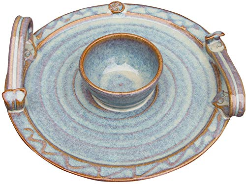 """Castle Arch Pottery Handmade Party Platter with Dip Bowl. 9"""" Diameter Serving Plate with Celtic Spiral Logo. Original Irish Design Hand-Glazed for Durability and Quality of Finish (Green)"""