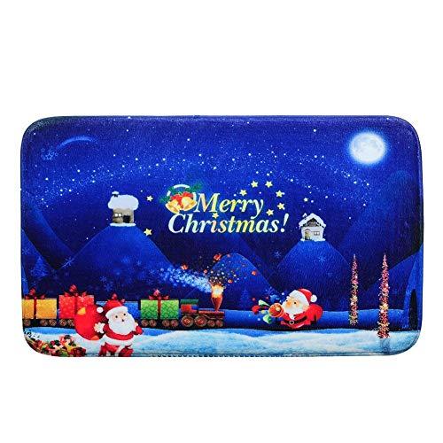 Ahomi Alfombra de baño Antideslizante Feliz Navidad Santa Claus Felpudo de Franela para Puerta de casa, 4