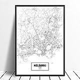 Leinwanddruck,Helsinki Finnland Schwarz Weiß