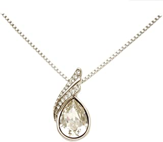Coach House Jewelry Women's White Gold Plated Box Style Necklace with Large and Small Clear Crystals, 18