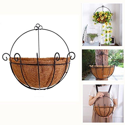 OSPOSS murale en métal à suspendre Panier jardinière avec Coco Coco Liner 30 cm semi-circulaire fer Plante essuie-tout Idéal pour plantes d'intérieur ou d'extérieur