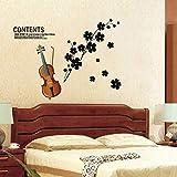 Wandtattoo Geige Wandaufkleber DIY Wandsticker Acryl Wandbild für Wohnzimmer Schlafzimmer Babyzimmer Kinderzimmer Wand Deko Aufkleber