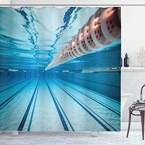 ABAKUHAUS Hobby Duschvorhang, Schwimmbad Sport Aussicht, mit 12 Ringe Set Wasserdicht Stielvoll Modern Farbfest & Schimmel Resistent, 175x180 cm, Himmelblau