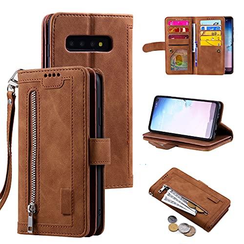 EYZUTAK Handyhülle für Samsung Galaxy S10 Plus Hülle,Flip Hülle Lederhülle Reißverschluss Magnetverschluss Brieftasche mit 9 Kartenfächern Standfuntion Retro Matt Ledertasche-Braun