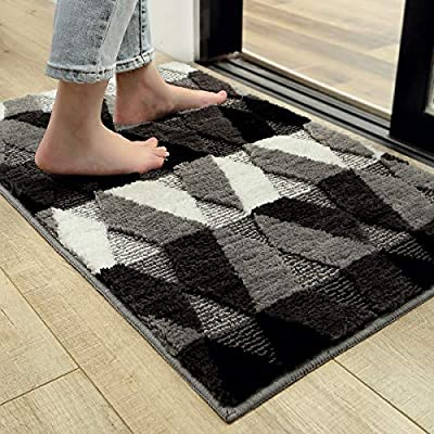 """Indoor Doormat Front Back Door Mat, 24""""x35"""" Water Absorbent Low-Profile Mud Mat Non Slip Large Door Rug for Inside Entrance Machine Washable"""