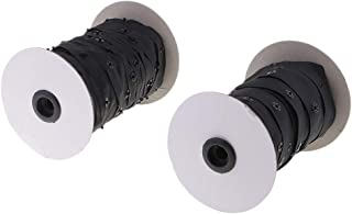 Baosity 2 Roll 1.8cm Invisible Snap Buttons Tape Fasteners for Sewing Duvet Cover Clothing Bags Accessories - Black