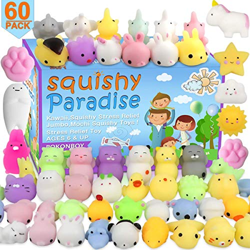 POKONBOY 60 Pack Mochi Squishy Toys Squishies, Cat Panda Unicorn Squishy Mini Kawaii Squishies Birthday Party Favors Cute Animals Stress Relief Toys Carnival Prizes for Kids Boys Girls Adults